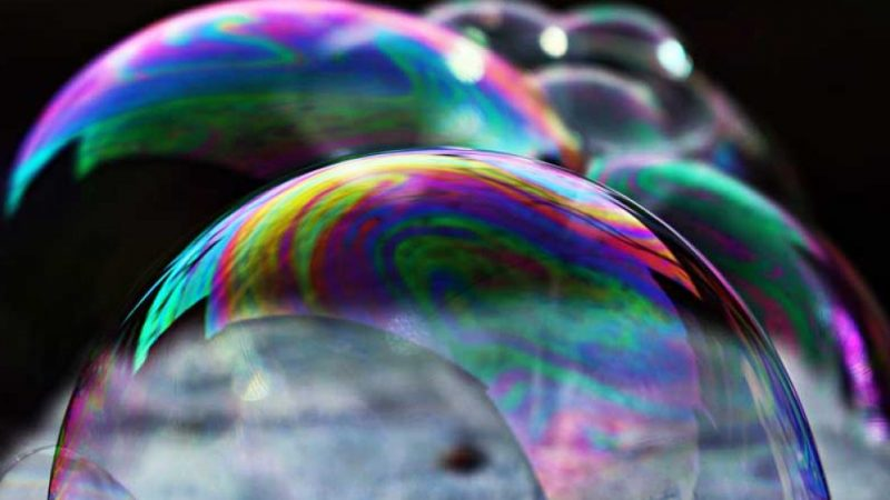 Lots of multicoloured bubbles to represent fragility